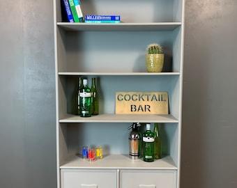 Rustic Vintage Bookcase Shelves Shelving Storage Teak Unit Painted Drinks