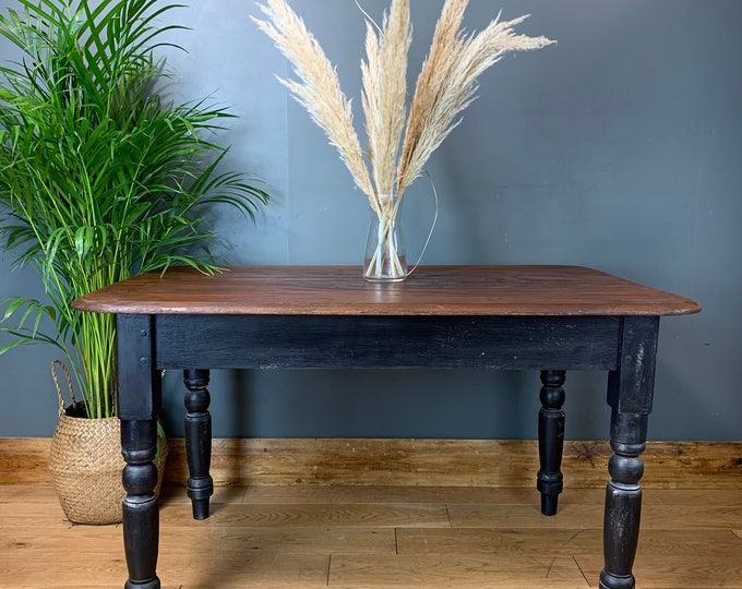 Rustic Rectangle Vintage Small Table Country Kitchen Dining Painted Black