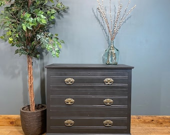 Antique Chest Of Drawers / Painted Drawers / BlacK Chest Of Drawers / Storage