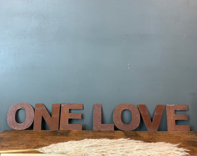 Rusty Metal Letters /  Metal Wall Art / Bedroom Decor / Love Sign / ONE LOVE
