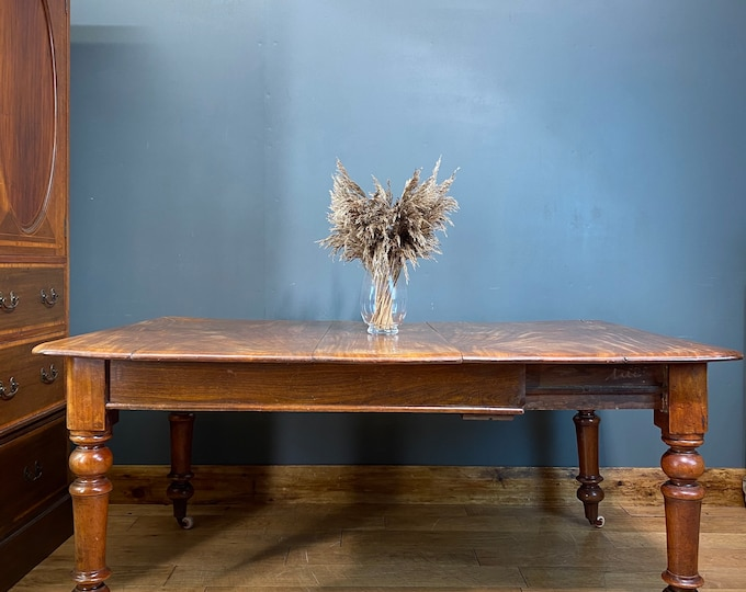 Antique Victorian Elm Dining Table / Extending Table / Pull Out  Kitchen Table
