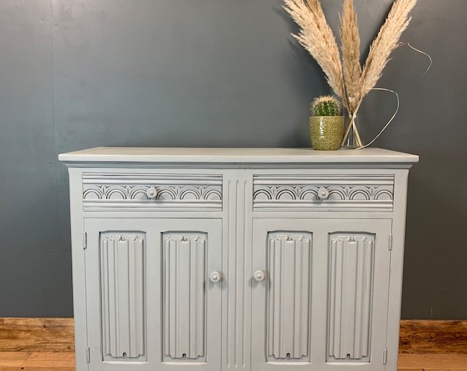 Vintage Painted Blue Grey Upcycled Shabby Chic Sideboard Cupboard Rustic Drawers