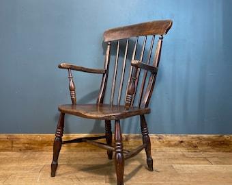 Antique Grandfather Chair / Windsor Chair / Elm & Beech/ Old Fireside Armchair A