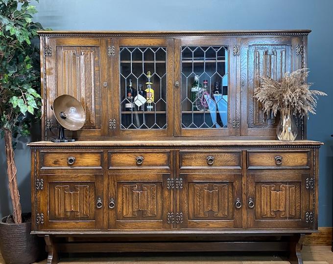 Antique Jaycee Oak Dresser / Oak Kitchen dresser / Kitchen Pantry / Linenfold