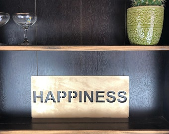 Gold HAPPINESS Plaque Word Sign Metal Home Rustic Bar Rum Gin Love Live Believe Happy