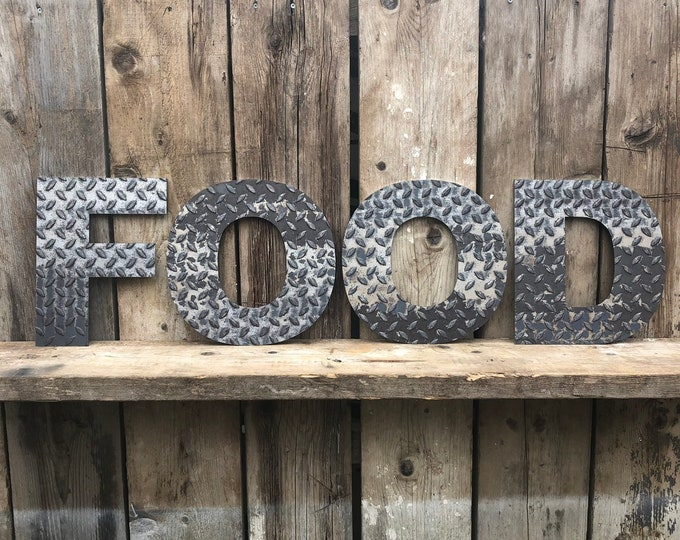FOOD INDUSTRIAL LETTERING Letters Metal Shop Home Sign Rustic Food Drinks Kitchen Bar