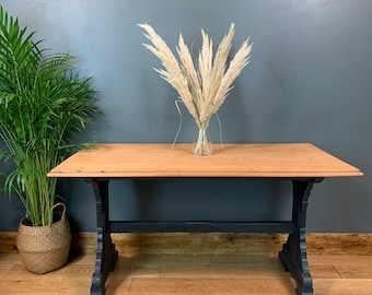 Rustic Rectangle Retro Mahogany refectory Table KItchen Dining Painted Navy