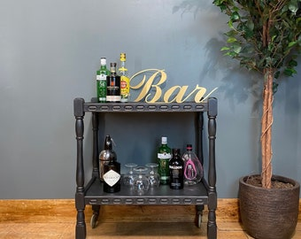 Vintage Tea Trolley / Black Sideboard / Drinks Trolley / Cocktail Bar /home Bar