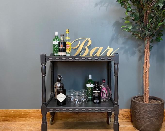 Vintage Tea Trolley / Black Sideboard / Drinks Trolley / Cocktail Bar /home Bar