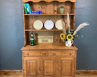 Vintage Rustic Pine Cabinet Cupboard Drawers Dresser Kitchen Dining Farmhouse