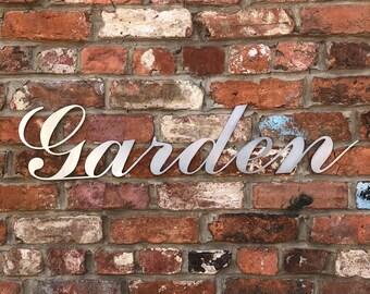 Steel Industrial GARDEN Sign / Urban Decor / Garden Word / Galvanised Lettering