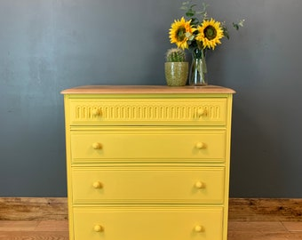 Vintage Chest Of Drawers Shabby Chic Sideboard Oak Painted Bedroom Yellow