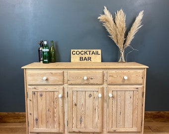 Vintage Natural Pine Sideboard /Shabby Chic Drawers / Rustic Cupboard/