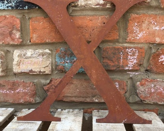 X Rusty metal letters, shop signage, initials, house sign garden name, lettering, rusted, industrial, vintage, numbers barbers, home, love,