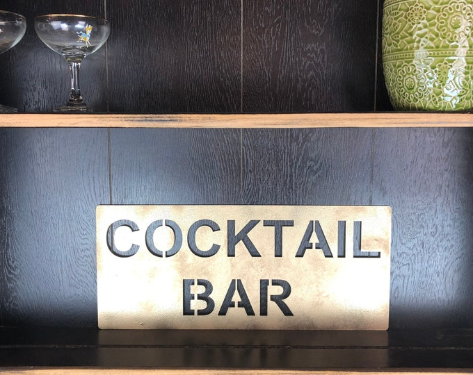 Gold COCKTAIL BAR Plaque Word Sign Metal Shop Home Rustic Bar Cocktails Drinks Rum Gin Wine