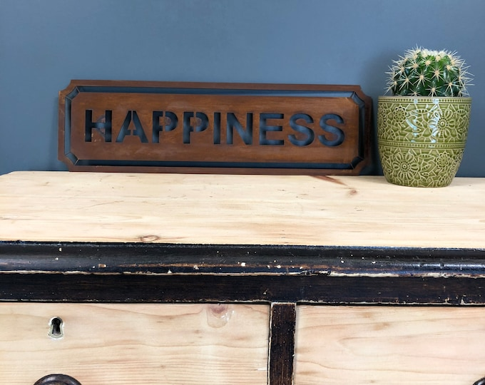 Rusted HAPPINESS Word Sign Metal Shop Home Rustic Pub Cafe Bar Cocktails Drinks