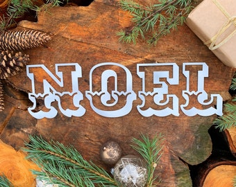 Rustic white Carnival NOEL mantle CHRISTMAS Lettering Metal Nordic decoration