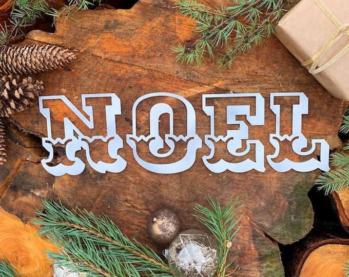 Rustic white Carnival NOEL mantle CHRISTMAS Lettering Metal Nordic decoration