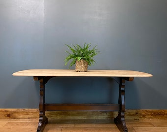 Vintage Ercol Refectory Table / Elm Dining Table / Rustic Farmhouse / Kitchen