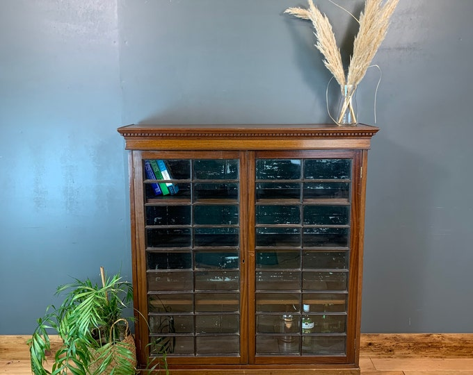 Antique Old Mahogany Glazed Cupboard Storage Bookcase Drinks Cabinet Cocktail