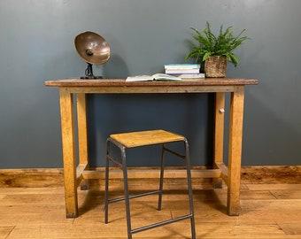 Vintage Desk & Stool / School Lab Science Bench Desk / Kitchen Island  /Office B