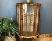 Vintage Curios Cocktail Cabinet China Display Cupboard Drinks Walnut Veneer