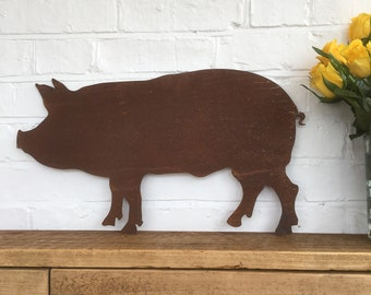 Rusty PIG Sign , Rusty Metal Garden Ornament  , rustic garden decoration , Kitchen sign , Farmyard , Butchers , Animal decor , pig present