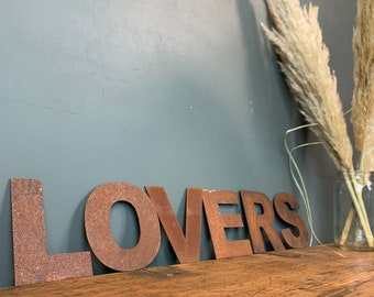 Rusty Metal Letters /  Metal Wall Art / Bedroom Decor / Love Sign / LOVERS
