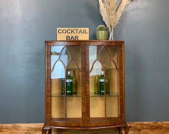 Antique Vintage Glass Glazed Gin Cupboard Storage Drinks China Cabinet Cocktail