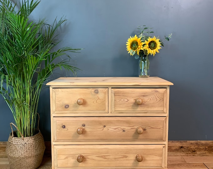 Vintage Pine Chest Of Drawers Chic Sideboard Cabinet Bedroom Storage