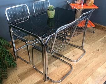 Mid Century Table / Retro Kitchen Table / Vintage Dining Table / Vintage Kitchen Table / Kitchen Table /  Glass table / Chrome & Glass