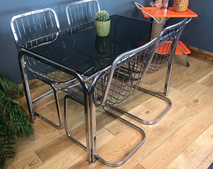 Mid Century Table / Retro Kitchen Table / Vintage Dining Table / Vintage Kitchen Table / Kitchen Table /  Glass table / Chrome & Glass