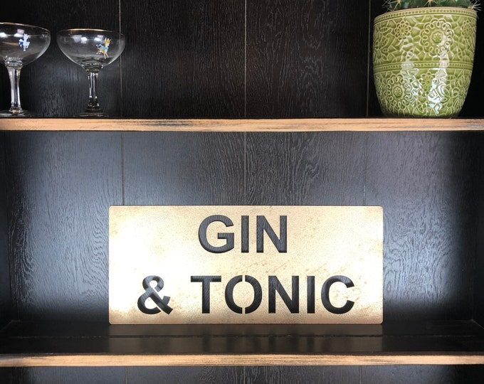Gold GIN & TONIC Plaque Word Sign Metal Shop Home Rustic Pub Cafe Bar Cocktails Drinks Rum