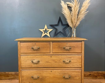 Vintage Oak Chest Of Drawers / Rustic Drawers / Bedroom Storage