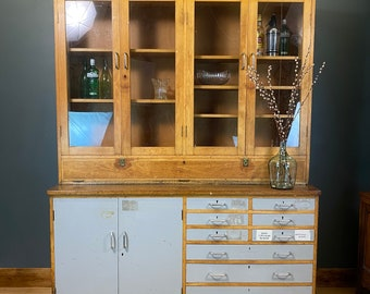 Vintage Retro Dresser / School Cabinet / Kitchen Display/ Glazed Bookcase