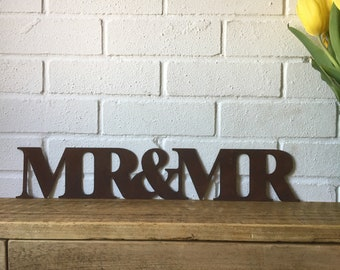 Rusty MR & MR Lettering Letters Sign Metal Home Vintage and Rustic Wedding