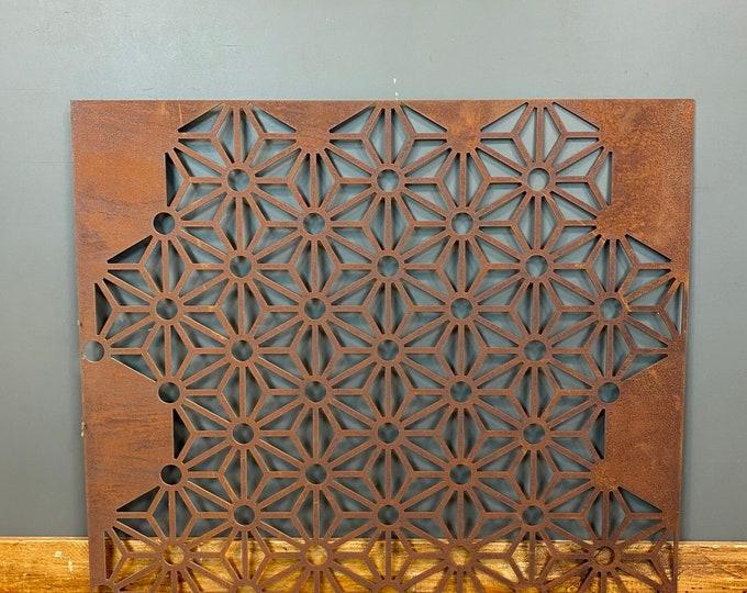 Rusty Metal Garden Panel/ Metal Wall Art / Garden decoration / Geometric