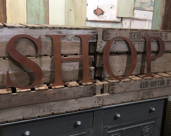 SHOP Rusty metal word letters, shop home sign garden house cafe, lettering, rusted, industrial, vintage, numbers, food drink