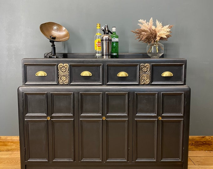 Vintage Sideboard / Painted Upcycled Sideboard / Rustic Cupboard/ Painted Black
