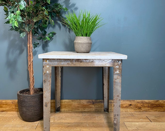 Vintage Pine Table /Bistro Table /Metal Dining Table / Industrial Kitchen Island