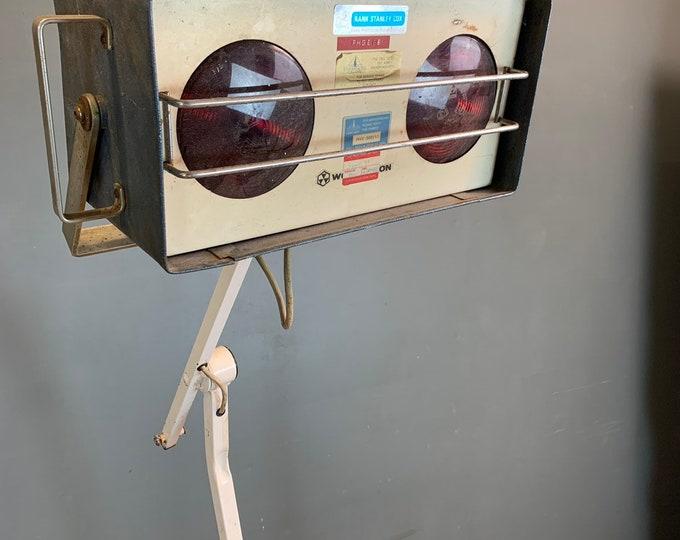 Vintage Medical Equipment Heat Lamp Floor Standing Industrial Design Interior