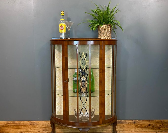 Vintage Glazed Cabinet / China Cabinet / Cocktail Cabinet / Drinks Cabinet