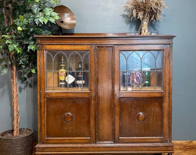 Vintage China Cabinet / Drinks Cabinet /Glazed Oak Bookcase / Display Cupboard