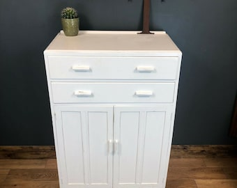 Vintage Tallboy Cupboard Shelves Storage Retro Drawers Rustic Boho Painted White