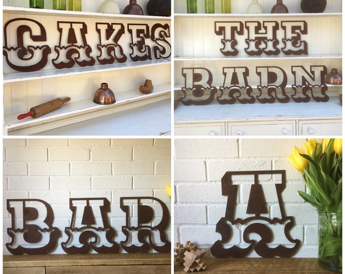 """Rusty 12"""" CARNIVAL metal alphabet letters, shop signage, initials, house name, lettering, rusted, industrial, vintage, barbers, home, love"""