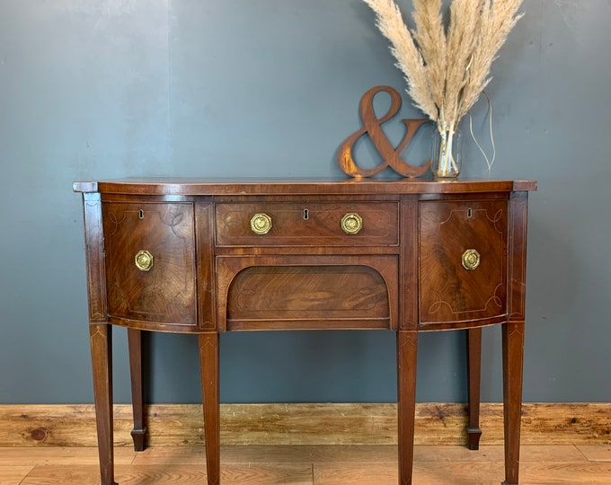 Vintage Serpentine Sideboard / Mahogany Console Table / Cupboard Drawers
