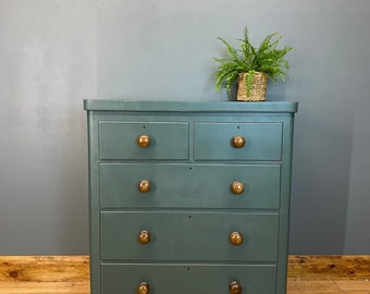 Antique Pine Chest Of Drawers / Painted Drawers/ Rustic Chest Of Drawers / Green
