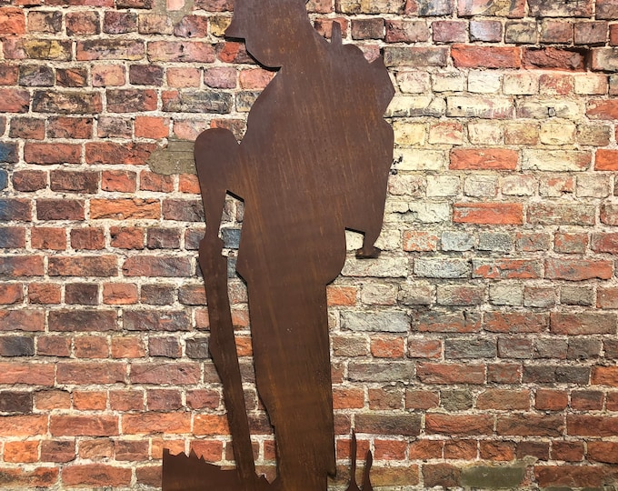 XL GARDEN DECORATION , Life size Lest We Forget Soldier Silhoutte , Garden Statue , Garden Feature , remembrance plaque , memory gift ,