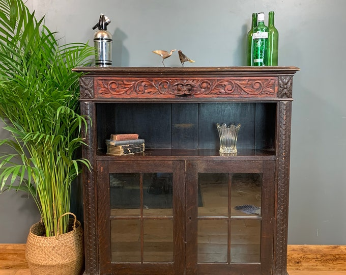 Antique Oak Green Man Bookcase Shelves Shelving Storage Cocktail Drinks Bar