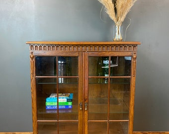 Vintage Glazed Cabinet / Oak Cupboard / Rustic China Cupboard / Cocktail Cabinet